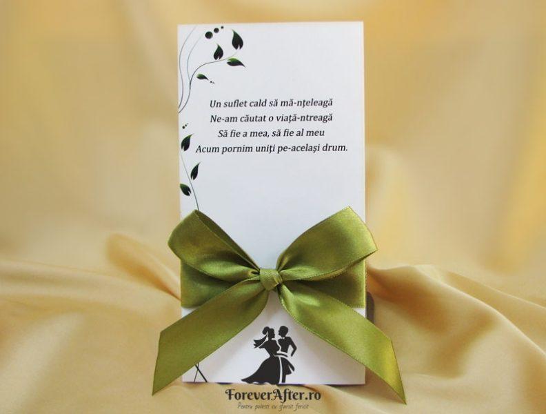 Invitatie De Nunta Green Bow Invitatii De Nunta Handmade