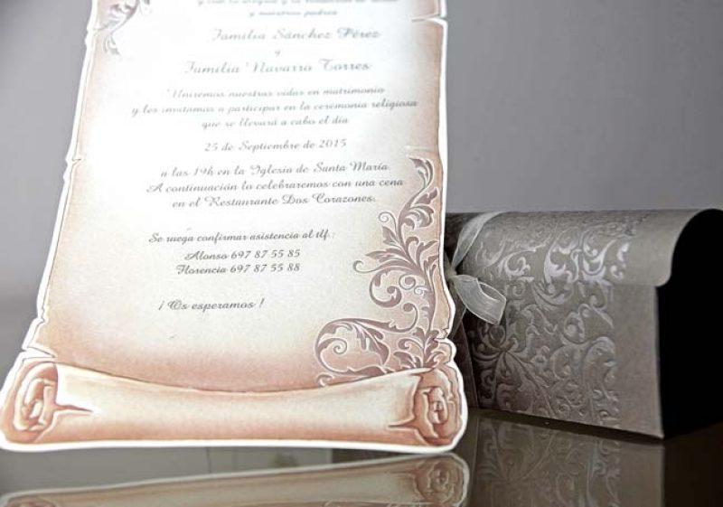 Invitatie De Nunta Pergament In Cutie Eleganta Invitatii De Nunta