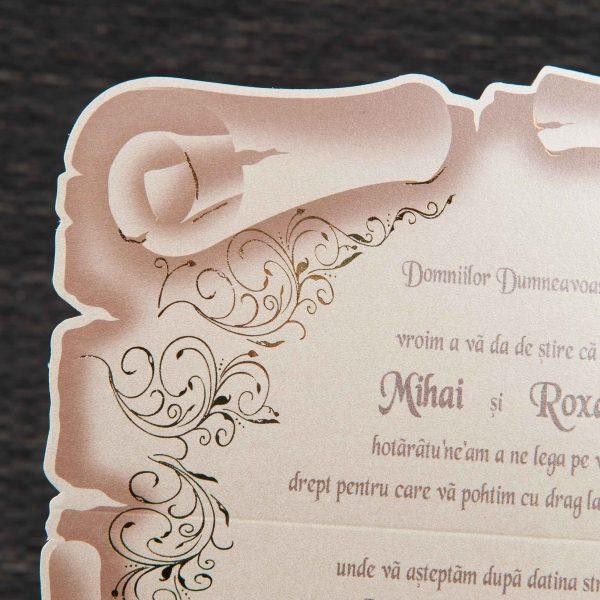 Invitatie De Nunta Crem Pergament Cu Initiale Invitatii De Nunta