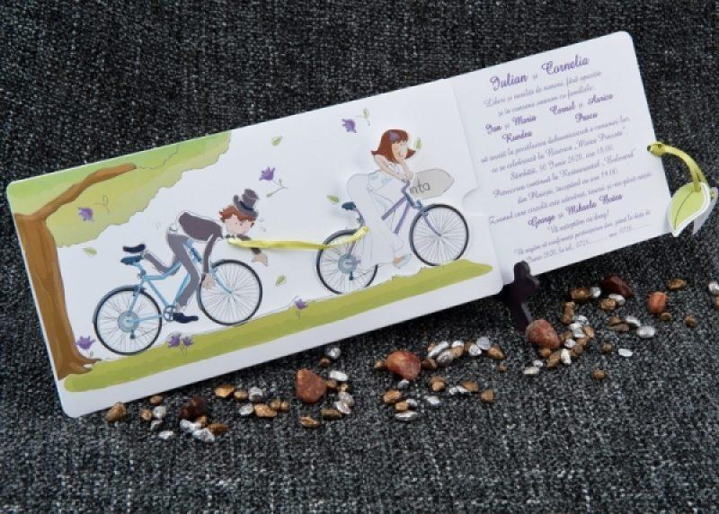 Invitatie De Nunta Cursa Pe Biciclete Invitatii De Nunta Haioase