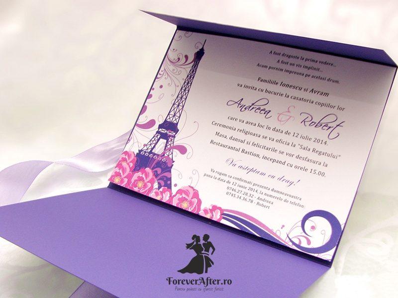 Invitatie De Nunta Mov Tour Eiffel Invitatii De Nunta Handmade