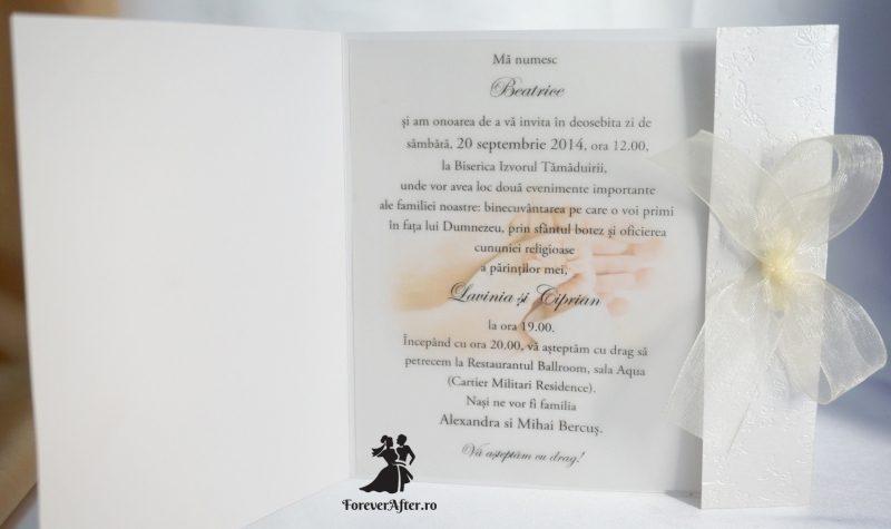 Invitatie De Nunta Si Botez Cu Fluturasi Embosati Si Fundita