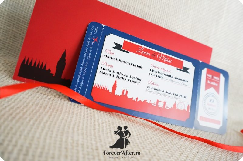 Invitatie De Nunta Ticket To London Invitatii De Nunta Moderne