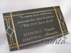 Card de confirmare Marele Gatsby gri cu model auriu