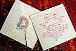 Invitatie de nunta crem cu folie si plic cu inimioara