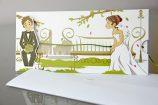 Invitatie de nunta cu miri romantici pe banca