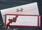 Invitatie de nunta grena cu fluturasi aurii