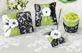 Set de nunta cu trandafir si funda verde