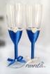 Set pahare miri cu inimi si perle Imperial Blue