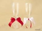 Set pahare miri rosu cu alb si perle