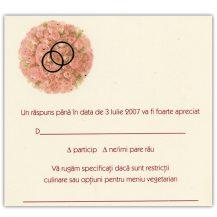 Card de confirmare cu buchet de trandafiri si verighete