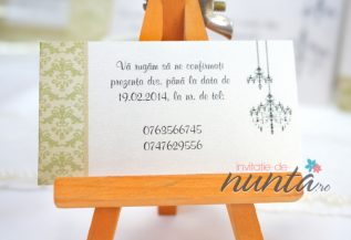 Card de confirmare cu model verde Elegant Chandelier