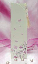 Invitatie crem cu flori si fluturi roz