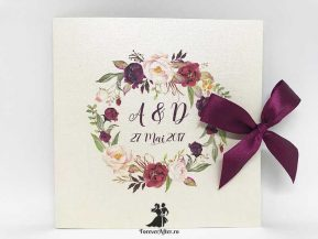 Invitatie cu coronita de flori