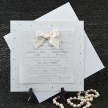 Invitatie de nunta alba cu foaie de calc