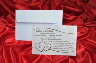 Invitatie de nunta argintie sidefata cu inimioare si chenar
