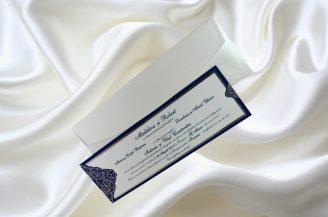 Invitatie de nunta argintiu cu bleumarin