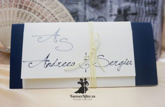 Invitatie de nunta Blue Script