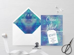 Invitatie de nunta Blue watercolor