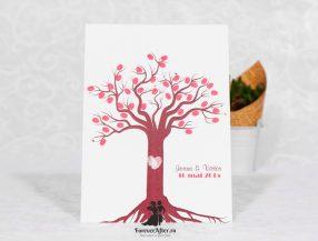 Invitatie de nunta copacel cu amprente