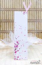 Invitatie de nunta cu flori de cires si petale roz