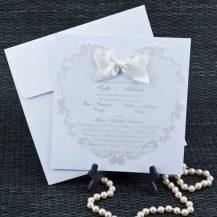 Invitatie de nunta cu inimioara din calc