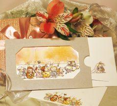Invitatie de nunta cu miri si nuntasi