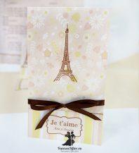 Invitatie de nunta cu model floral Je t'aime