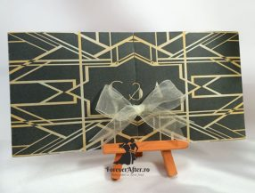 Invitatie de nunta Marele Gatsby gri cu model auriu