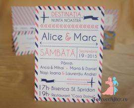 Invitatie de nunta Par avion