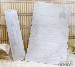 Invitatie de nunta pergament cu motive florale si sigiliu