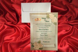 Invitatie de nunta pergament cu trandafiri si verighete