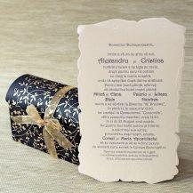 Invitatie de nunta pergament in cufar cu model floral
