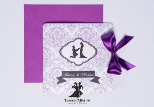 Invitatie de nunta Purple Damask