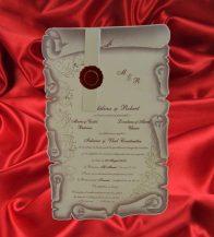 Invitatie de nunta sub forma de pergament cu sigiliu rosu