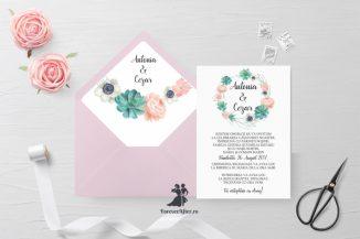 Invitatie de nunta tip card Chic Flowers