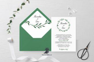 Invitatie de nunta tip card Green Branches