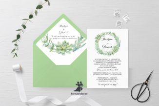 Invitatie de nunta tip card Greenery