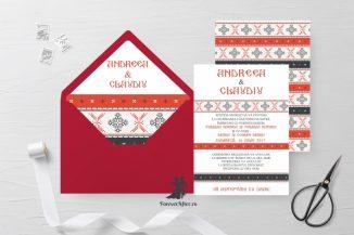 Invitatie de nunta tip card cu model traditional 4