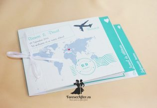 Invitatie de nunta tip carte Travel
