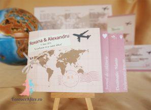 Invitatie de nunta tip carte Love Trip