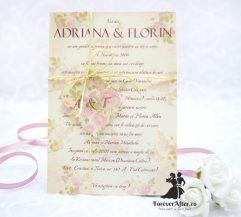 Invitatie de nunta Vintage Rose