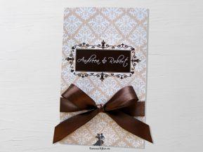 Invitatie de nunta Brown Damask