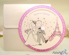 Invitatie haioasa crem cu Turnul Eiffel