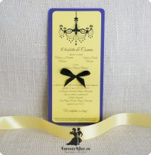 Invitatie mov cu galben si candelabru