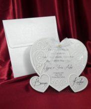 Invitatie inima cu funda si perla