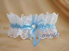 Jarteluta alb si bleu cu inimioara
