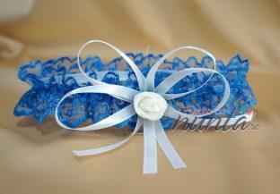 Jarteluta albastra cu trandafiras alb si fundita