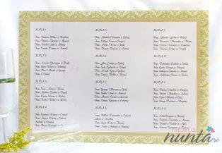 Lista cu asezarea invitatilor la mese  cu model verde Elegant Chandelier