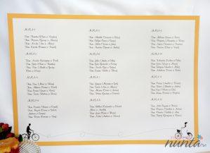 Lista cu asezarea invitatilor la mese Orange Retro Love